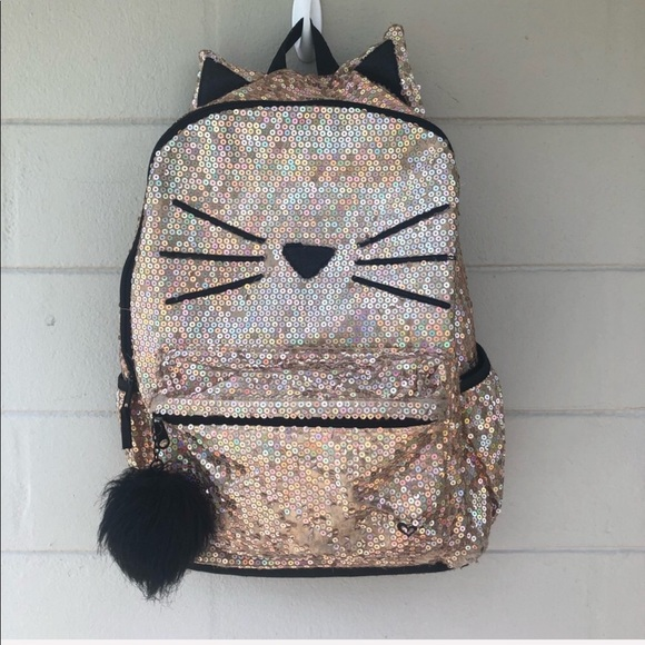 NWT Justice Backpack Gold Cat Quilted Letter ~S~  Backpack Lunch box Bracelet!